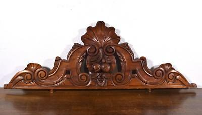 """39"""" French Antique Solid Mahogany Wood Pediment, Crown or Crest"""