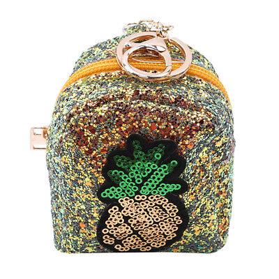 Pineapple Sequins Change Wallet Purse Coin Bag Mini Handbag With Keychain D