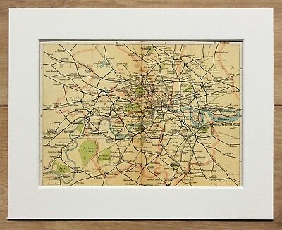 1907 Antique Map of Greater London - Railway Lines - Mounted for Framing