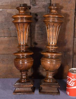 "16"" Pair of French Antique Solid Walnut Wood Posts/Pillars/Columns/Balusters"