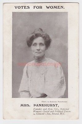 """SUFFRAGETTE Mrs. PANKHURST """"VOTES FOR WOMEN"""" Photo by Schmidt, Manchester - 20a"""