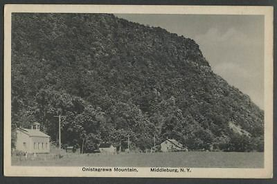 Middleburgh Fulton NY: c.1910 Postcard ONISTAGRAWA MTN. Vrooman's Nose, School