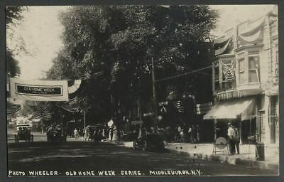Middleburgh NY: c.1913 RPPC Postcard MAIN STREET OLD HOME WEEK Banners, Activity