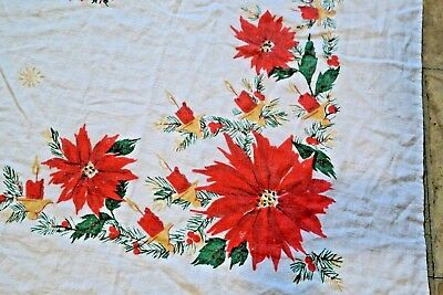 Vintage Christmas Tablecloth Poinsettia Candles