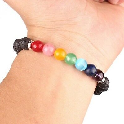 Christmas Gift Energy Volcanic Stone beads Yoga 7 Chakra adjustable Bracelet # 2