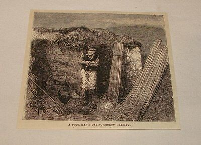 1880 magazine engraving~POOR MAN'S CABIN, County Galway, Ireland