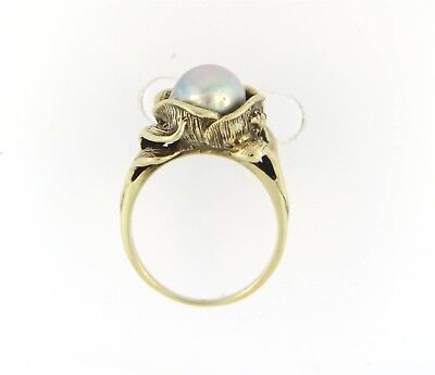 Floral Deco Style Large Cultured Pearl 14k Gold Antique Vintage Ring! Organic!