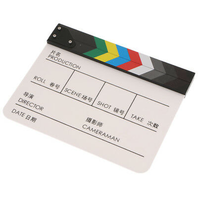 Acrylic Colorful Clapperboard TV Film Movie Slate Cut Role Play Prop-White