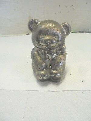 "cast metal teddy bear coin bank 5-1/2"" tall"
