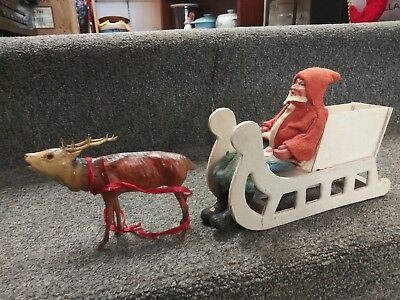 Antique Early German Composition Santa in Sleigh with Stick Leg Reindeer