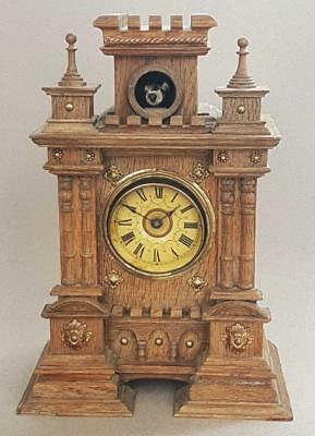 BEAUTIFUL ANTIQUE CARVED CASTLE CUCKOO CLOCK 1880 shelf mantle BLACK FOREST