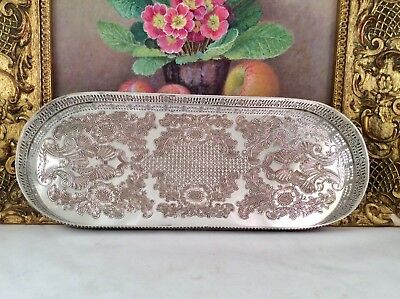 Rare Antique Repousse Silver On Copper Galleried Cocktail Decanter Tray C1930