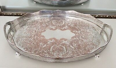 """Large Antique 19th Century 23"""" Silver On Copper Footed Rise & Fall Gallery Tray"""