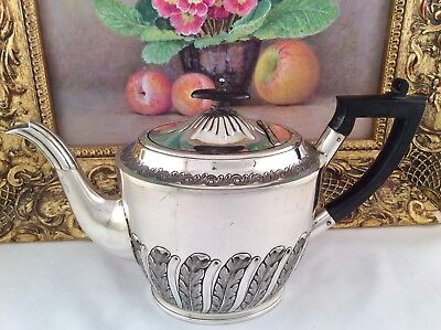 Superb 19th C. Acanthus Embossed Silver Plated Teapot HENRY WILKINSON & Co C1845