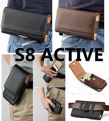for SAMSUNG GALAXY S8 ACTIVE - Leather Belt Clip Pouch Holster Carry Phone Case
