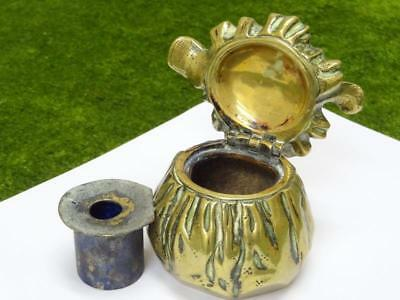 Antique BRASS FIGURAL INKWELL MONEYBAG & FRENCH COINS w/ LINER & HINGED LID VGC