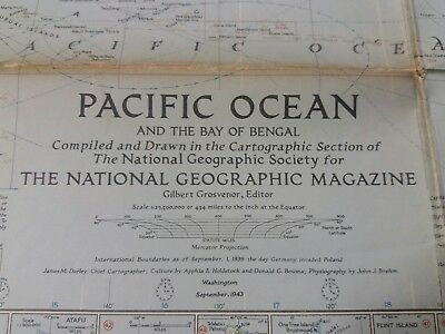 Vintage National Geographic Map - Pacific Ocean and Bay of Bengal (1943)