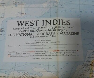 Vintage National Geographic Map - West Indies (1954)