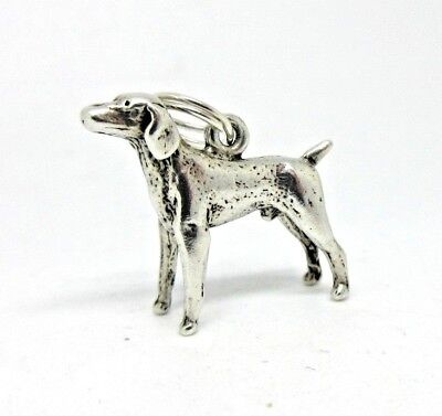 Vintage 3D Sterling Silver MALE POINTER DOG Charm / Pendant - Nice Detail!