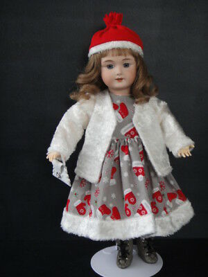 ROSETTE Repro porcelain Doll. BLEUETTE's big Sister. Blue eyes - Christmas dress