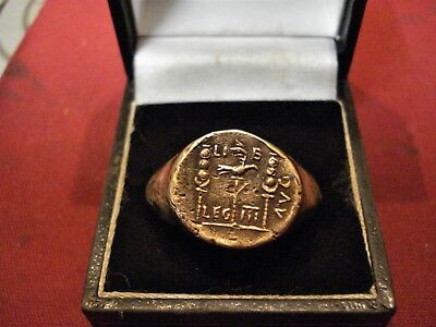Big Ancient Roman Bronze Legionary Ring--'legio Iii'--Eagle And Standards