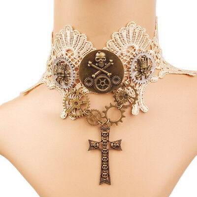 Steampunk Gear Skull Clavicle Chain Necklace Vintage Victorian Lace Choker