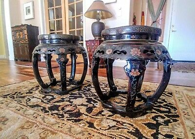 Vintage Asian Coromandel accent tables (2)