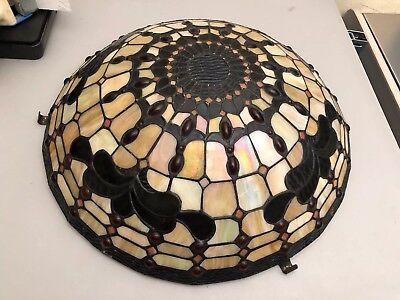 """18"""" Tiffany Style Multi-Color Stained Glass Lamp Shade"""