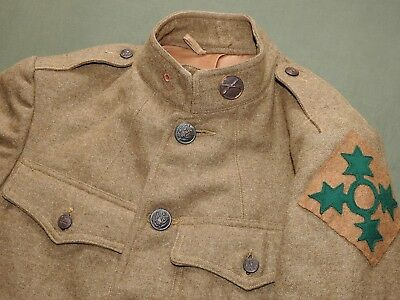 US Army WW1 4TH INFANTRY DIVISION BADGED M-1917 WOOL SERVICE & COMBAT TUNIC Coat