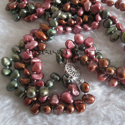"""18"""" 6-7mm 3 Row Multi Color Freshwater Pearl Necklace Strand Jewelry U"""