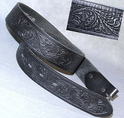 "GREAT JUSTIN BOOT Co.32"" BELT TOOLED LEATHER WESTERN BLACK (buckle not included)"