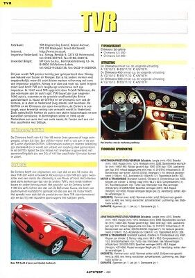 2001 TVR Chimaera Griffith Cerbera (Dutch, 1pg.) Autotest Report (AAD.474)
