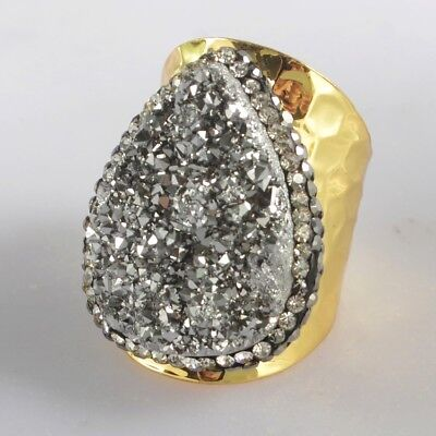 Scratched Size 7 Natural Agate Titanium Druzy Pave CZ Ring Gold Plated T071094