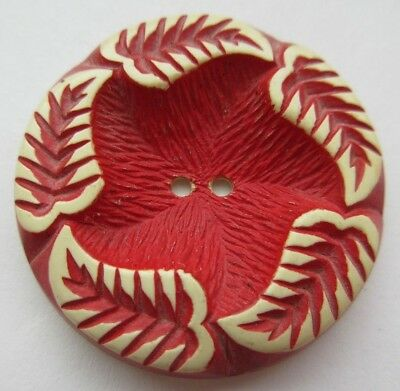 Fantastic LARGE Antique~ Vtg Cherry Red Buffed Celluloid BUTTON w/ Leaves (L)