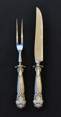 Towle Georgian Small 2PC Carving Set Sterling Hollow Handle Steel Blades