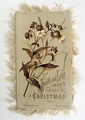 Antique Victorian LILY CHRISTMAS Card Silk Fringe S Hildesheimer Co No 190
