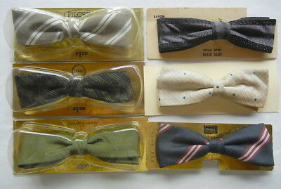 Lot of 6 Vintage Clip-on Bow Ties - A Perfectly Snappy Lot of SIX Bowties