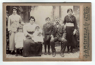 ANTIQUE FALL RIVER MASSACHUSETTS Cabinet Photograph PHOTO Family PORTUGUESE