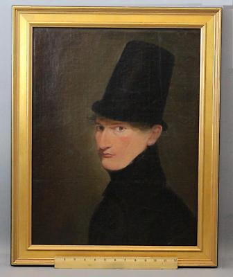 19thC Antique English Gentleman w/ Tall Welsh Hat Portrait Oil Painting, NR