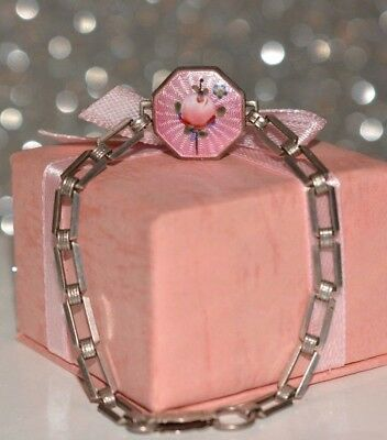 Antique Victorian Sterling Silver Pink Guilloche Enamel Cherry Bracelet