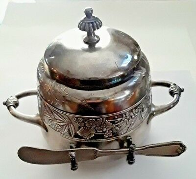 Antique Meriden Butter Dome / Dish w/ Butter Knife       ☆☆OPENING PRICE DROP☆☆
