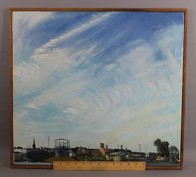 1981 Original HENRY COE Maryland Industrial CityscapeOil Painting, NR