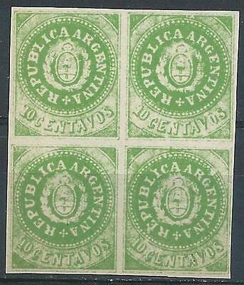 Argentina 1863 Sc# 7F Seal of Republic Arms Old counterfeit Forgery block 4 MNH