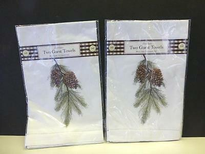 4 NEW PINE CONE Mary Lake-Thompson Fine Linen Guest Towels CHRISTMAS Fingertip