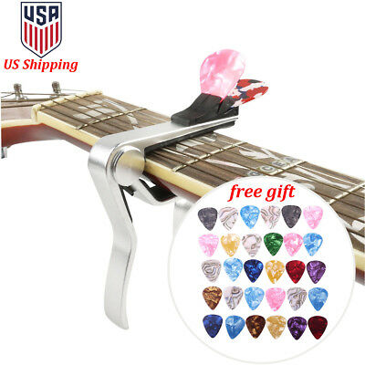 Quick Release Acoustic Electric Guitar Capo Trigger w/ Pick Holder & 30 Picks US