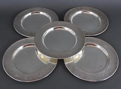 5 Antique Early 20thC Reed & Barton Sterling Silver Hand Chased Dessert Plates