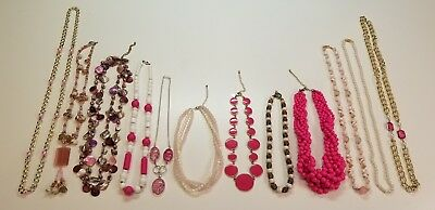 Pink Fashion Costume Necklace LOT 12 PCS Vintage Now Strand String Beaded MORE