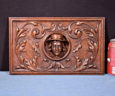 *French Antique Deep Carved Architectural Panel Door Solid Oak Wood with Face