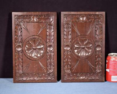 "*12"" French Antique Breton Hand Carved Architectural Panels Solid Chestnut Wood"