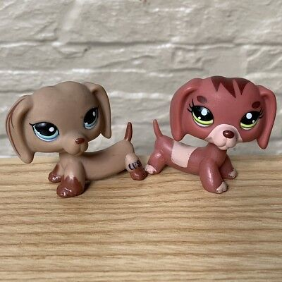 Lot 2 rare LITTLEST PET SHOP AUTHENTIC PUPPY DOG DACHSHUND CLEAR PEG LPS TOY